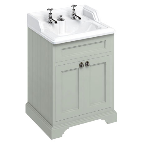 Burlington 65 2-Door Vanity Unit & Classic Invisible Overflow/Waste Basin (Dark Olive - 2 Tap Hole)