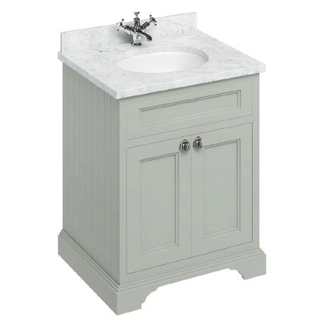 Burlington 65 2-Door Vanity Unit & Minerva Worktop with Basin - Dark Olive
