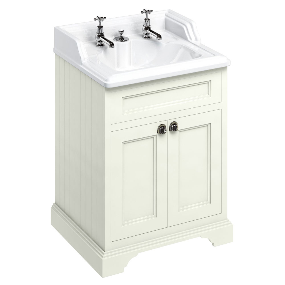 Burlington 65 2-Door Vanity Unit & Classic Invisible Overflow/Waste Basin (Sand - 2 Tap Hole) Large Image
