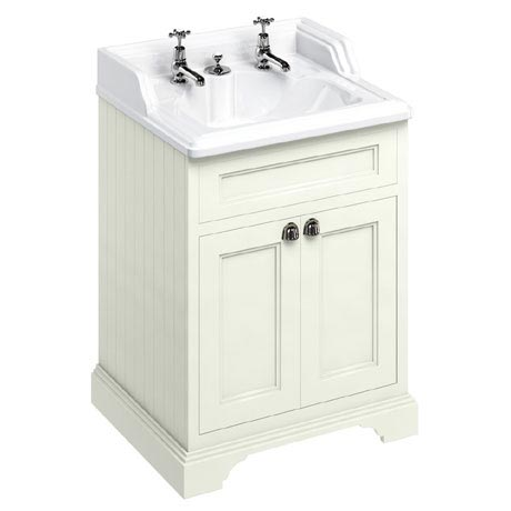 Burlington 65 2-Door Vanity Unit & Classic Invisible Overflow/Waste Basin (Sand - 2 Tap Hole)