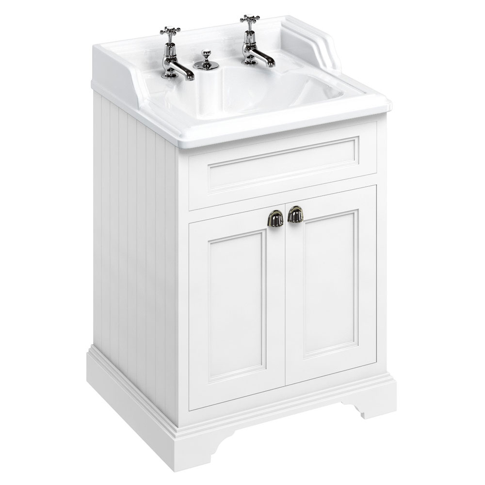 Burlington 65 2-Door Vanity Unit & Classic Invisible Overflow/Waste Basin (Matt White - 2 Tap Hole) Large Image