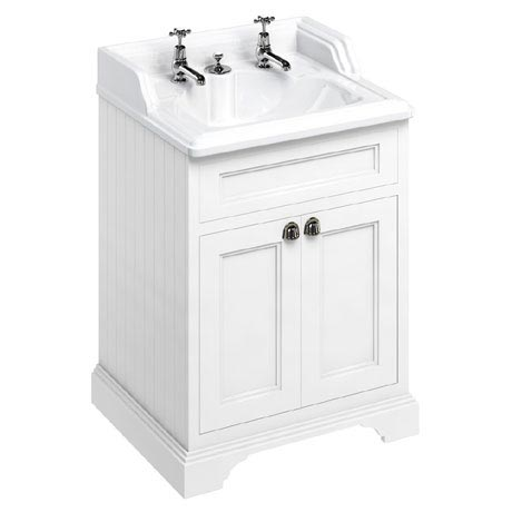 Burlington 65 2-Door Vanity Unit & Classic Invisible Overflow/Waste Basin (Matt White - 2 Tap Hole)
