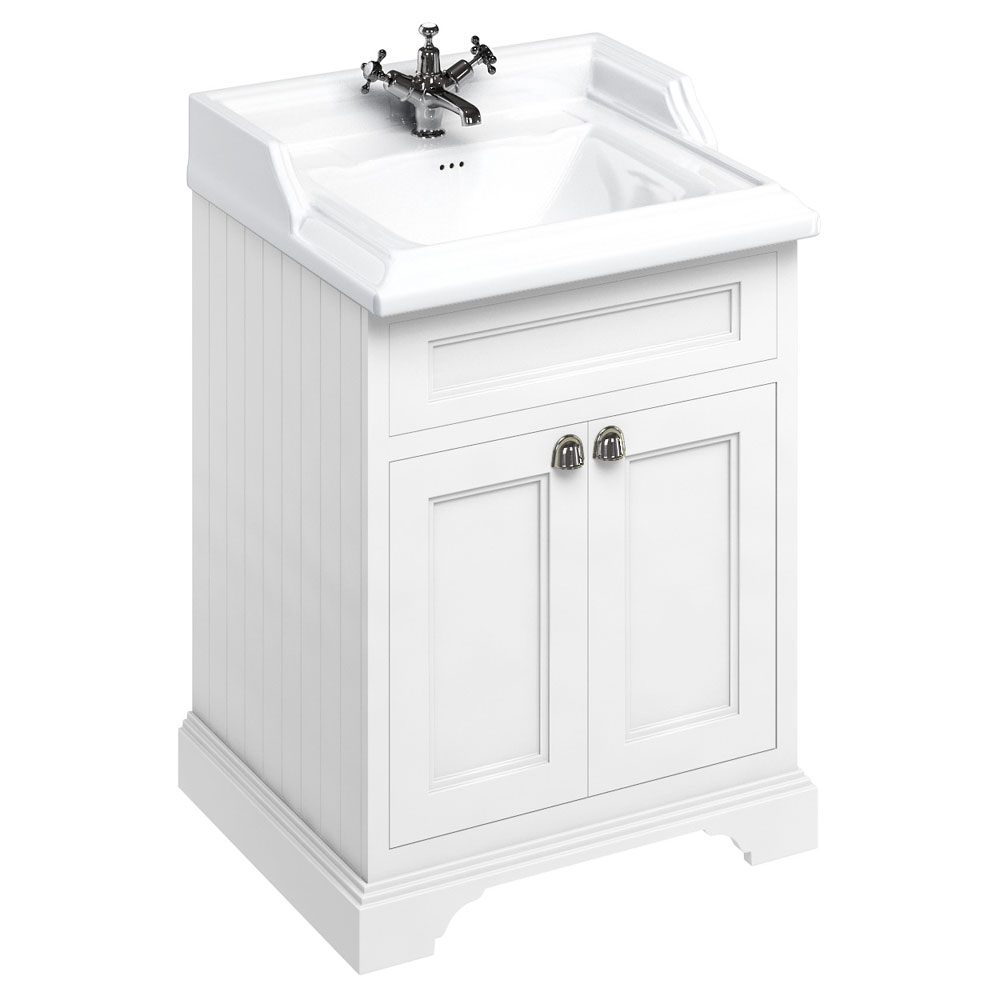 Burlington 65 2-Door Vanity Unit & Classic Basin - Matt White Large Image