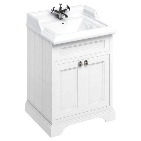 Burlington 65 2-Door Vanity Unit & Classic Basin - Matt White