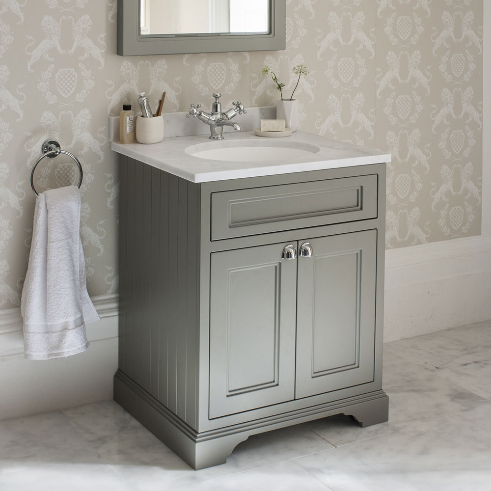 Burlington 65 2-Door Vanity Unit & Minerva Worktop with Basin - Matt White profile large image view 3