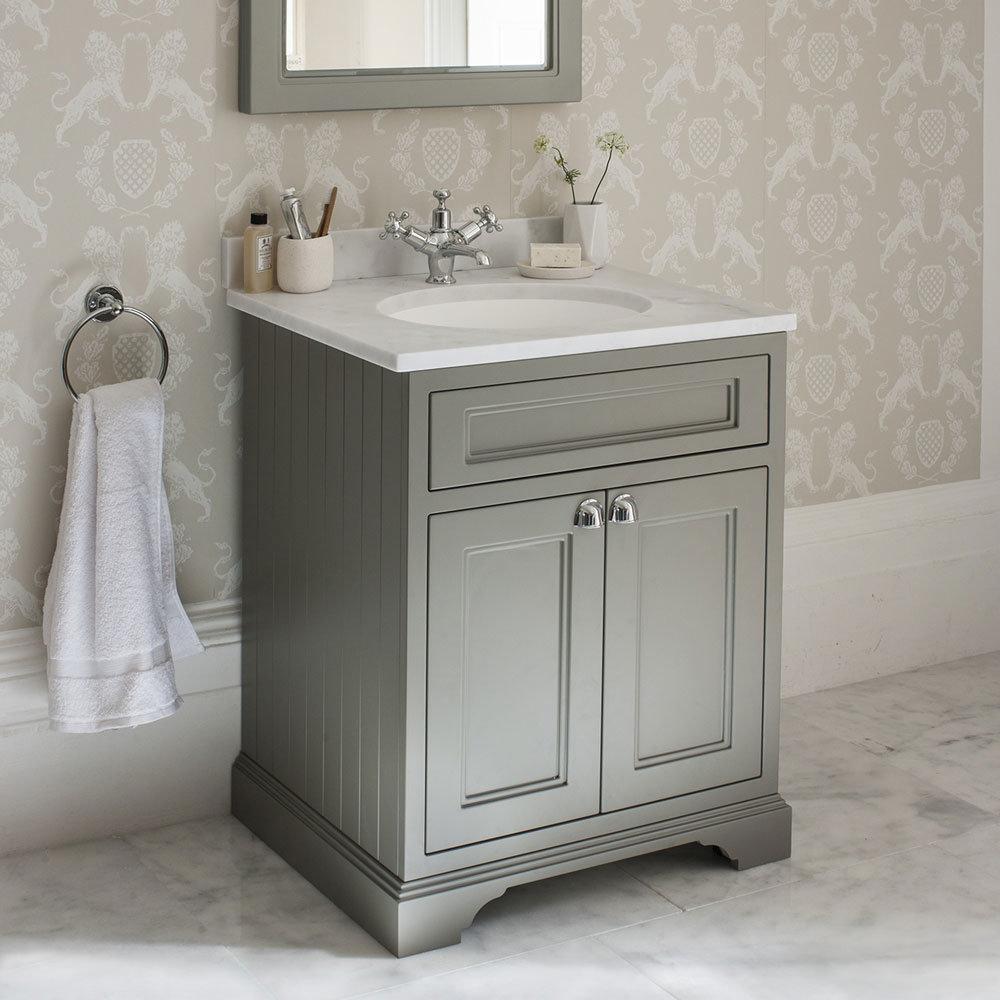 Burlington 65 2-Door Vanity Unit & Minerva Worktop with Basin - Dark Olive Feature Large Image