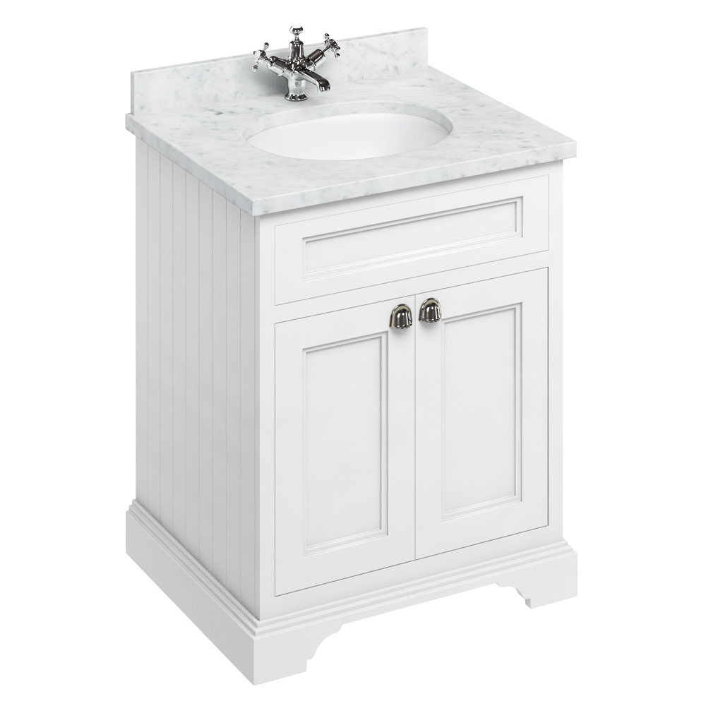 Burlington 65 2-Door Vanity Unit & Minerva Worktop with Basin - Matt White profile large image view 1