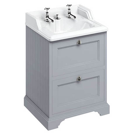 Burlington 65 2-Drawer Vanity Unit & Classic Invisible Overflow/Waste Basin (Classic Grey - 2 Tap Ho