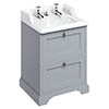 Burlington 65 2-Drawer Vanity Unit & Classic Invisible Overflow/Waste Basin (Classic Grey - 2 Tap Hole) profile small image view 1