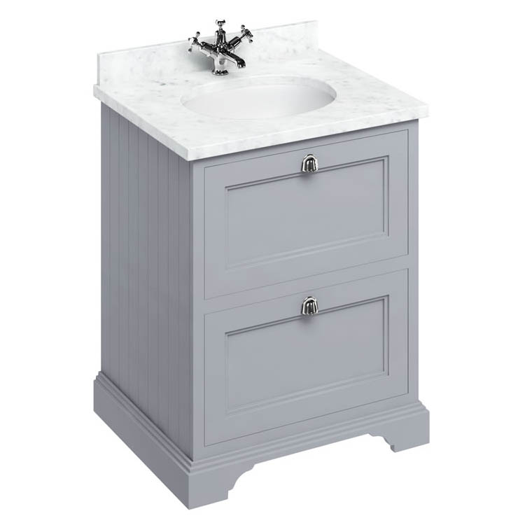 Burlington 65 2-Drawer Vanity Unit & Minerva Worktop with Basin - Classic Grey