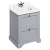 Burlington 65 2-Drawer Vanity Unit & Minerva Worktop with Basin - Classic Grey profile small image view 1