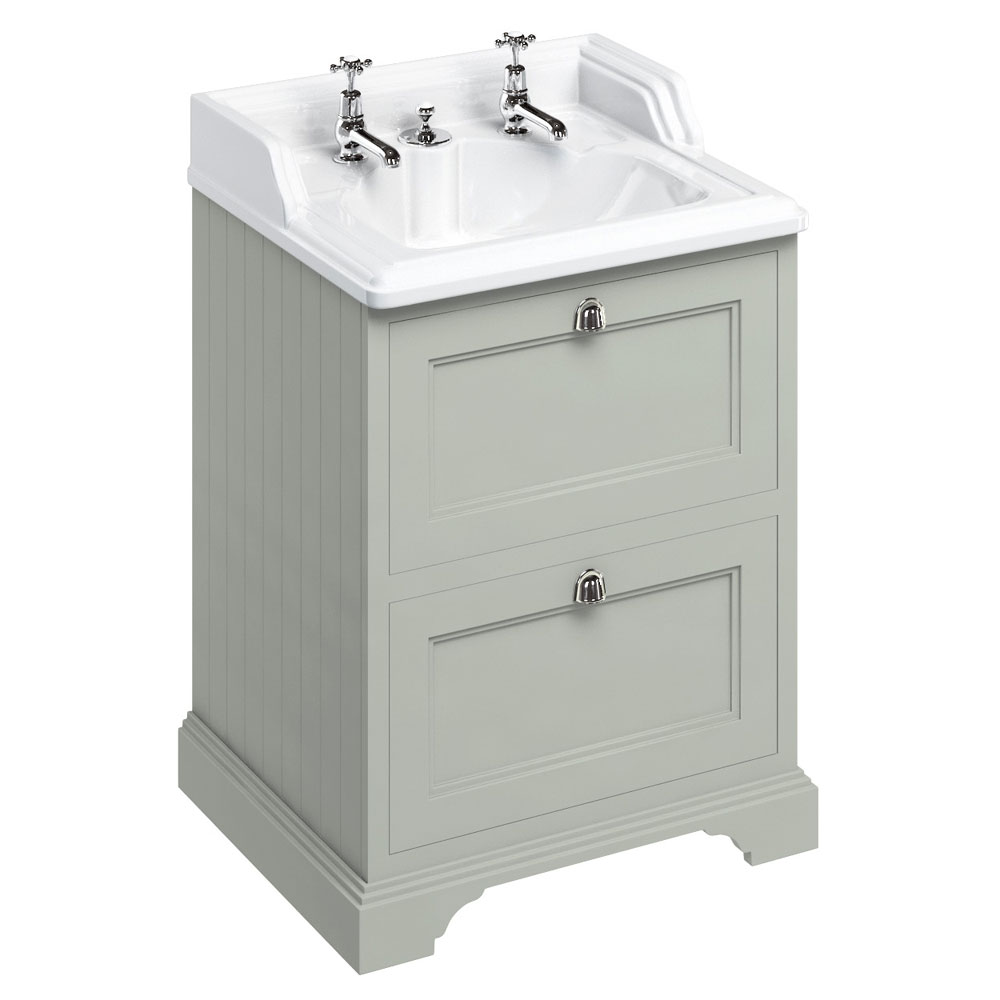 Burlington 65 2-Drawer Vanity Unit & Classic Invisible Overflow/Waste Basin (Dark Olive - 2 Tap Hole