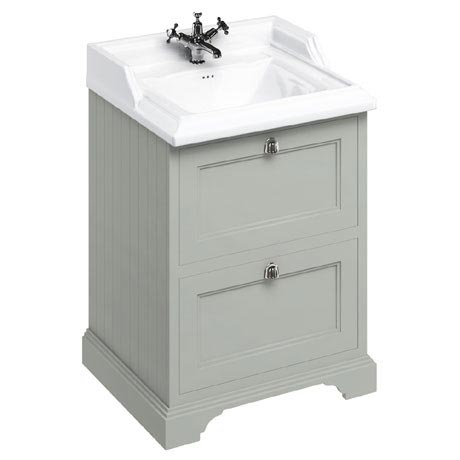 Burlington 65 2-Drawer Vanity Unit & Classic Basin - Dark Olive