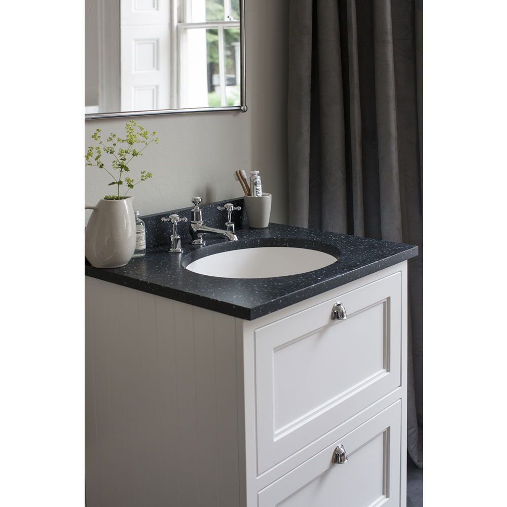 Burlington 65 2-Drawer Vanity Unit & Minerva Worktop with Basin - Sand profile large image view 3