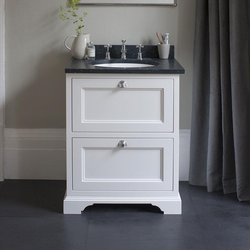 Burlington 65 2-Drawer Vanity Unit & Minerva Worktop with Basin - Dark Olive Standard Large Image