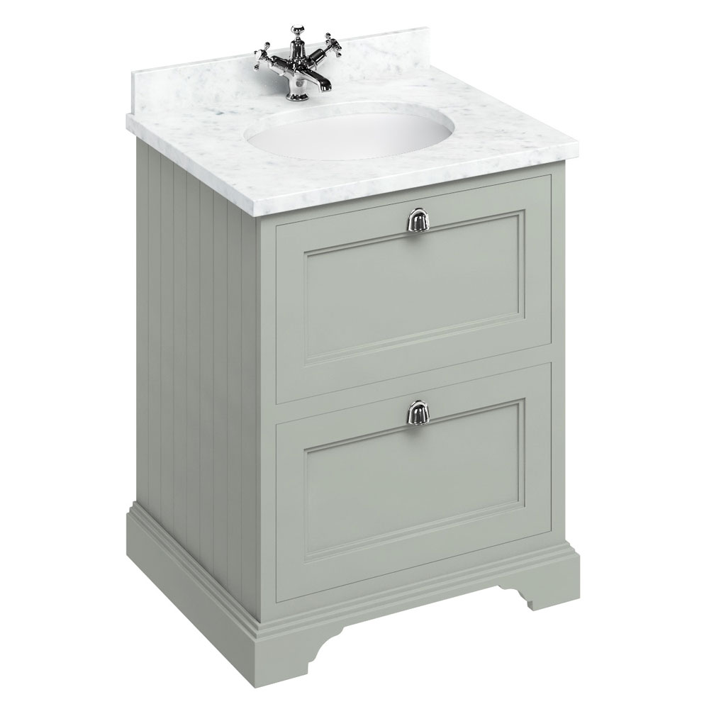 Burlington 65 2-Drawer Vanity Unit & Minerva Worktop with Basin - Dark Olive