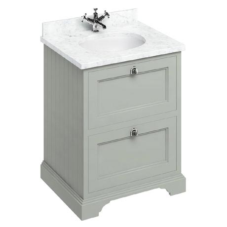Burlington 65 2-Drawer Vanity Unit & Minerva Worktop with Basin - Dark Olive