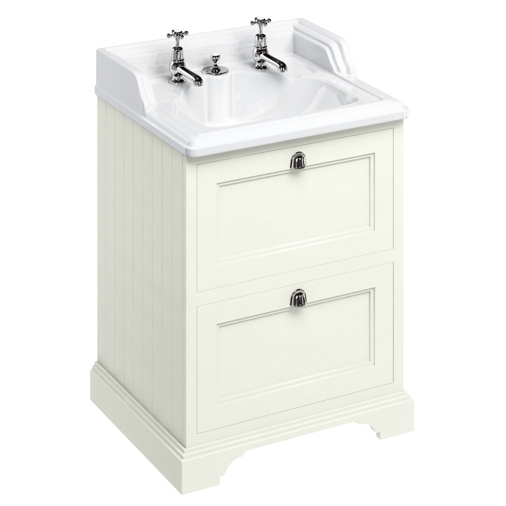 Burlington 65 2-Drawer Vanity Unit & Classic Invisible Overflow/Waste Basin (Sand - 2 Tap Hole) profile large image view 1
