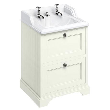 Burlington 65 2-Drawer Vanity Unit & Classic Invisible Overflow/Waste Basin (Sand - 2 Tap Hole)