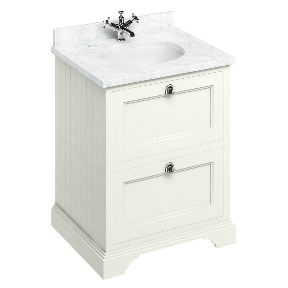 Burlington 65 2-Drawer Vanity Unit & Minerva Worktop with Basin - Sand profile large image view 1