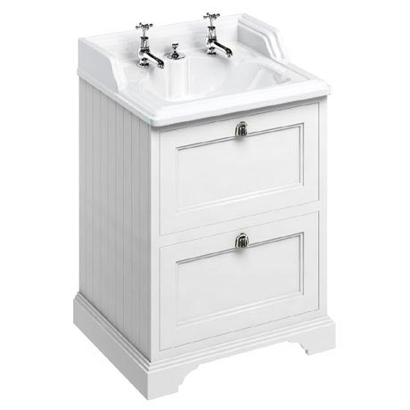 Burlington 65 2-Drawer Vanity Unit & Classic Invisible Overflow/Waste Basin (Matt White - 2 Tap Hole