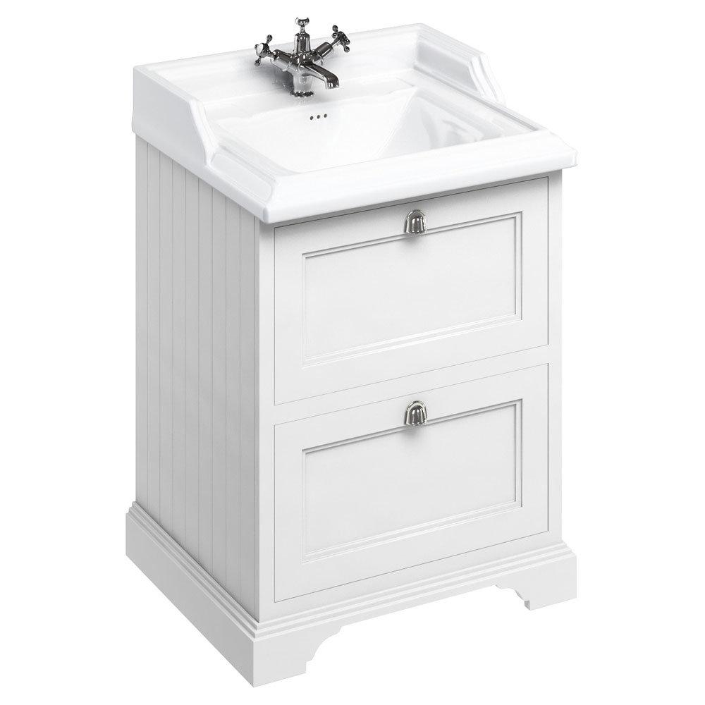 Burlington 65 2-Drawer Vanity Unit & Classic Basin - Matt White Large Image