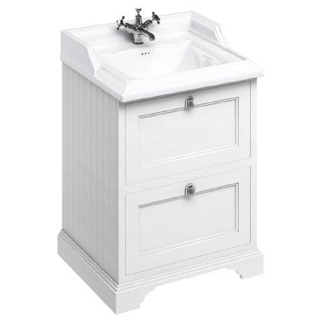 Burlington 65 2-Drawer Vanity Unit & Classic Basin - Matt White