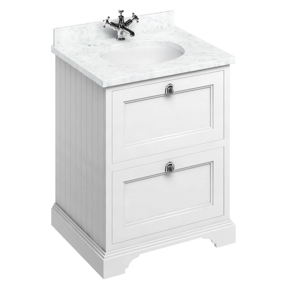 Burlington 65 2-Drawer Vanity Unit & Minerva Worktop with Basin - Matt White Large Image