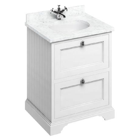 Burlington 65 2-Drawer Vanity Unit & Minerva Worktop with Basin - Matt White