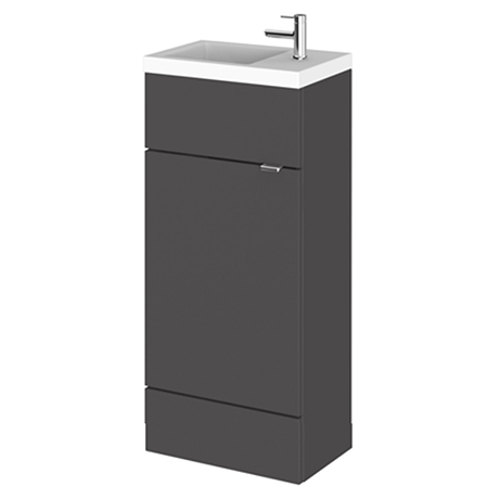 Fusion 405 Gloss Grey Compact Floor Standing Vanity Unit Inc. Basin