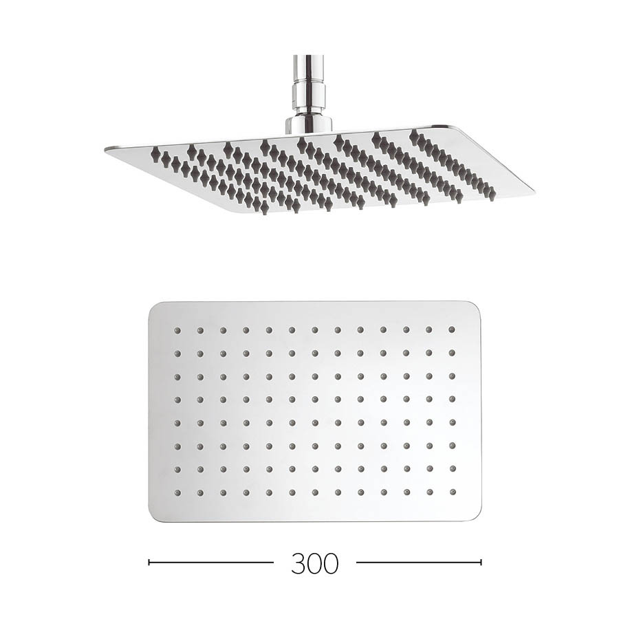 Crosswater - Glide 300mm Rectangular Fixed Showerhead - FH320SR+