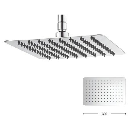 Crosswater - Glide 300mm Rectangular Fixed Showerhead - FH320SR+