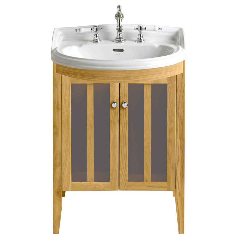 Heritage - Hidcote Freestanding Medium Bowfront Vanity Unit with Chrome Handles - Oak Large Image