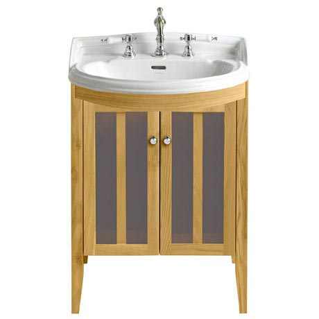 Heritage - Hidcote Freestanding Medium Bowfront Vanity Unit with Chrome Handles - Oak