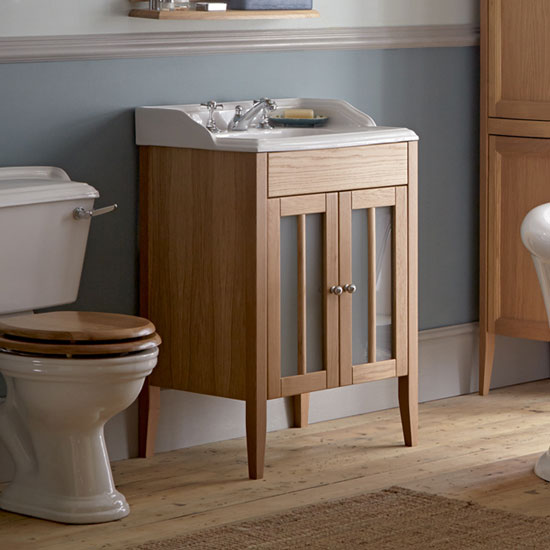Heritage - Hidcote Freestanding Dorchester Square Vanity Unit with Chrome Handles & Basin - Oak profile large image view 2
