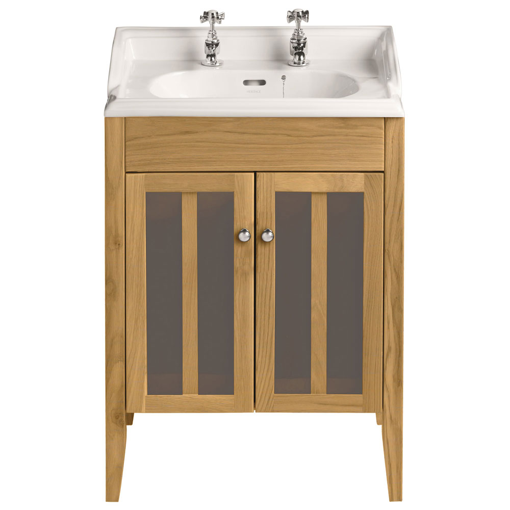 Heritage - Hidcote Freestanding Dorchester Square Vanity Unit with Chrome Handles & Basin - Oak Large Image