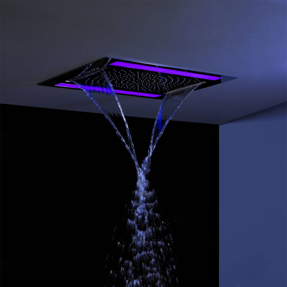 Crosswater Rio Revive Showerhead with Lights and Double Waterfall - FHX610C - Close up image of rainfall shower head with lights in a wet room