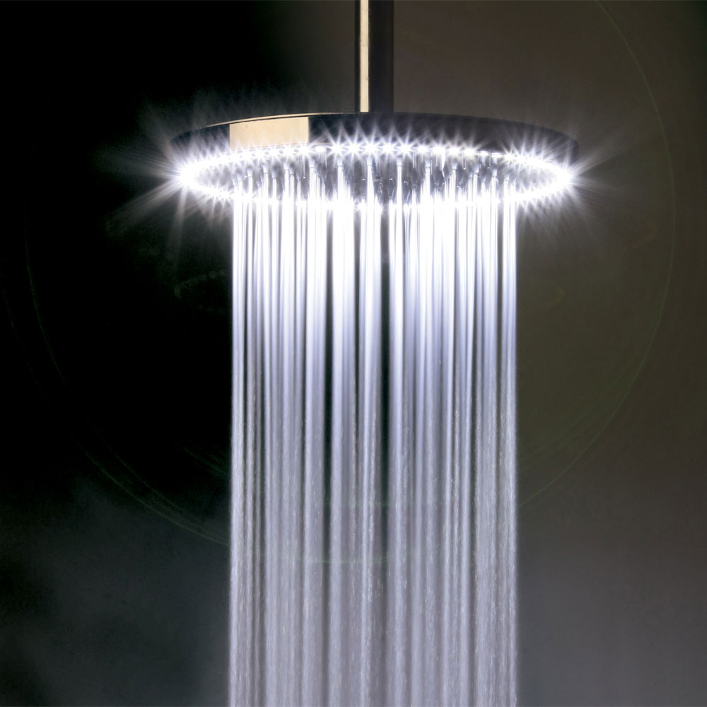 Crosswater - Rio White 240mm Round Showerhead with Lights and Arm Profile Large Image