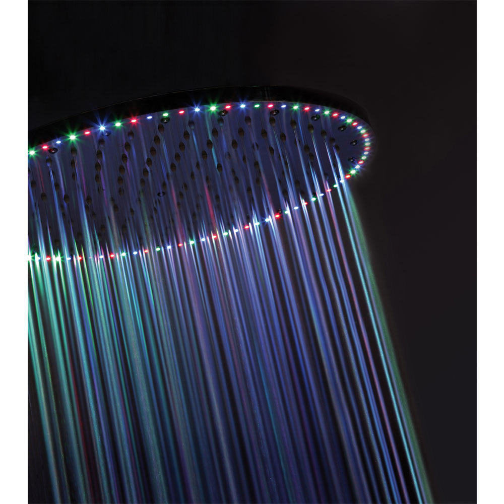 Crosswater - Rio Spectrum Round Showerhead with Lights and Ceiling Arm - FHX740C profile large image view 5