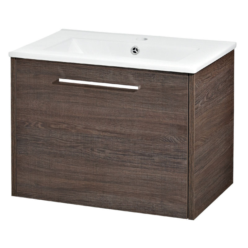 Hudson Reed - Horizon 600mm 1 Drawer Basin and Cabinet - Mid Sawn Oak - FHZ006 Large Image