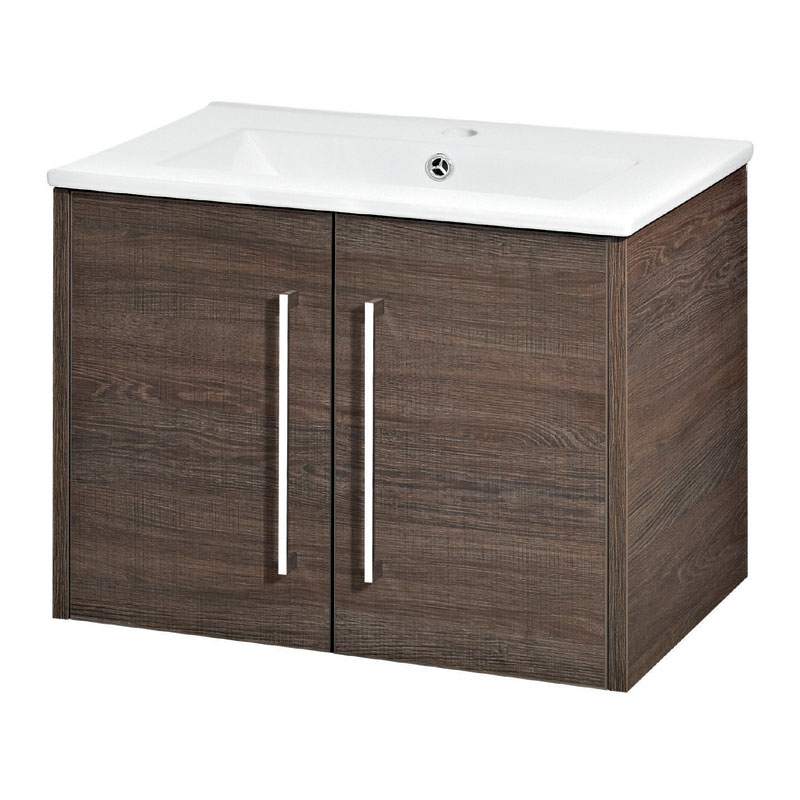 Hudson Reed - Horizon 600mm 2 Door Basin and Cabinet - Mid Sawn Oak - FHZ008 Large Image