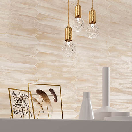 Finesse Gloss Beige Elongated Hexagon Wall Tiles - 65 x 330mm