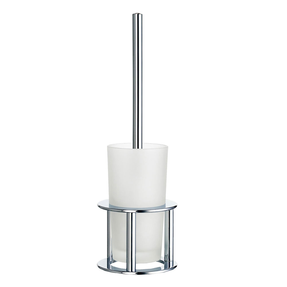 Smedbo Outline Freestanding Toilet Brush & Frosted Glass Container - Polished Chrome - FK102 Large Image