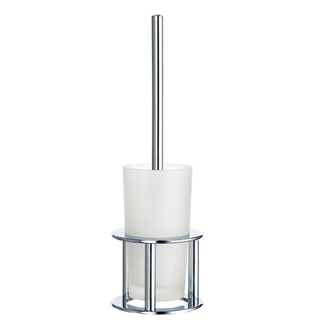 Smedbo Outline Freestanding Toilet Brush & Frosted Glass Container - Polished Chrome - FK102