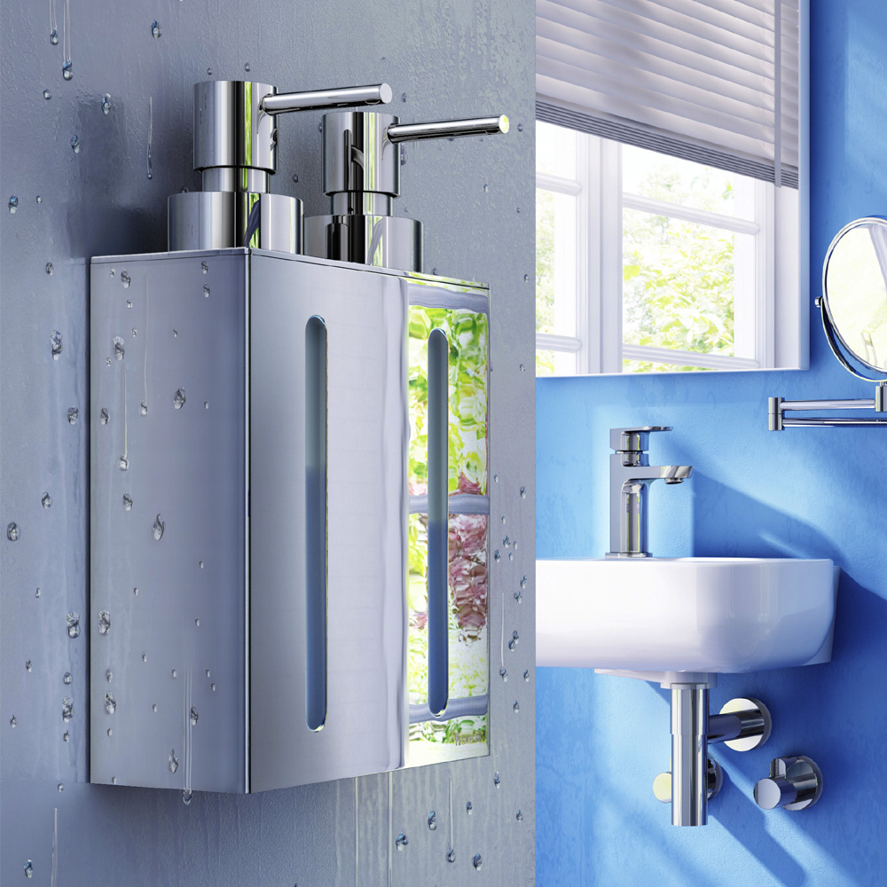 Smedbo Outline Wall Mounted Double Soap Dispenser - Polished Chrome - FK258 profile large image view 2