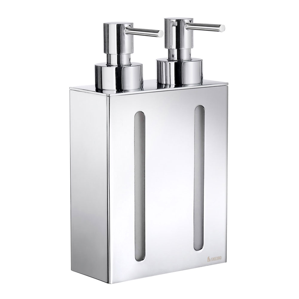 Smedbo Outline Wall Mounted Double Soap Dispenser - Polished Chrome - FK258 Large Image