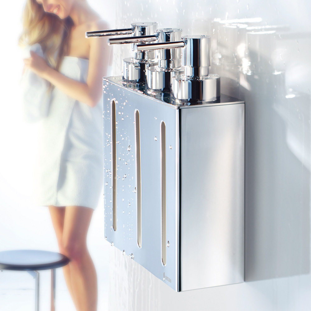Smedbo Outline Wall Mounted Triple Soap Dispenser - Polished Chrome - FK259 profile large image view 2
