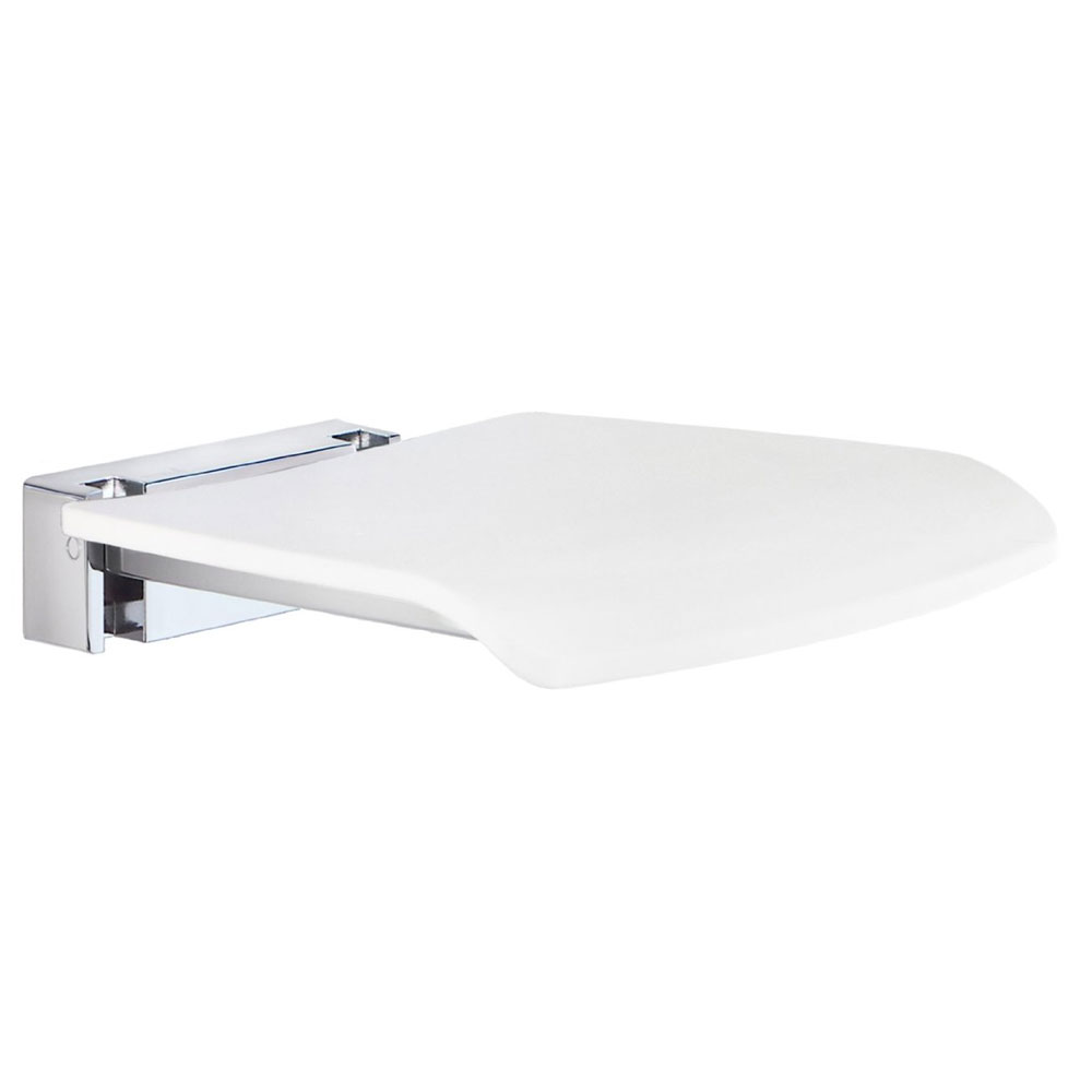 Smedbo Living Folding Wall Mounted Shower Seat - White - FK404 Large Image