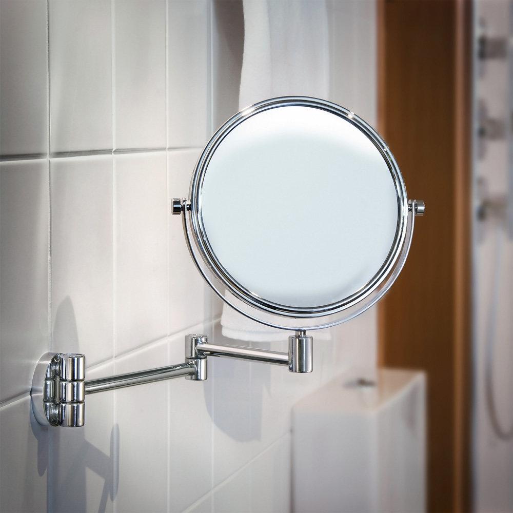 Smedbo Outline - Polished Chrome Shaving/Make Up Mirror on Swing Arm - FK438 profile large image view 2