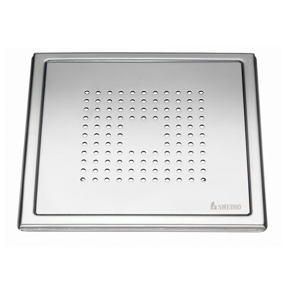 Smedbo Outline Square Pattern Floor Grating - Polished Stainless Steel - FK502 profile large image view 1